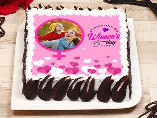 Women's Day Square Shape Photo Cake