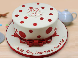 Round Shape Anniversary Cake for Mom and Dad