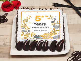 Square Shaped 5th Anniversary Cake