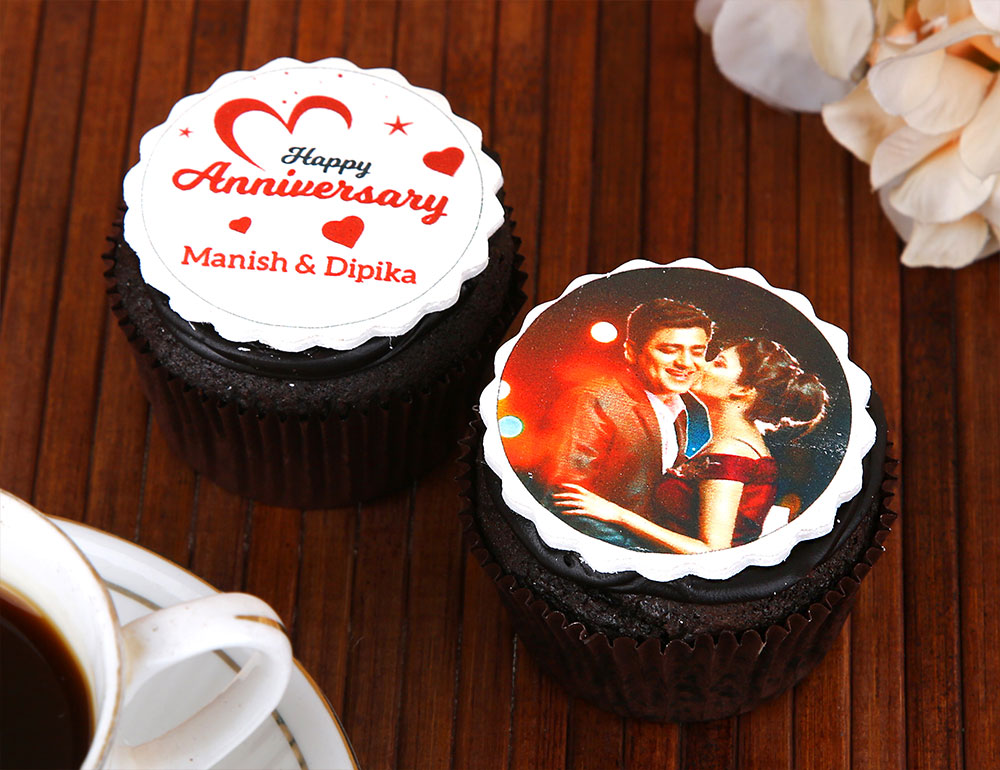 Personalised Anniversary Cupcakes 2 Pieces