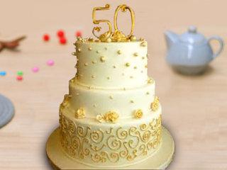 Golden Jubilee Anniversary Cake