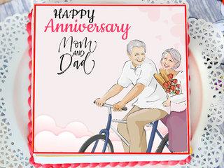 Square Poster Mom & Dad Anniversary Cake