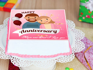 Square-shaped Cartoon Poster Anniversary Cake