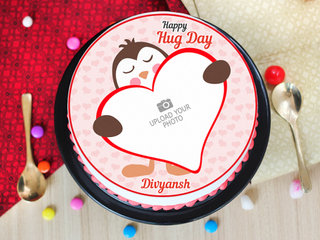 Top View of hug day special photo cake