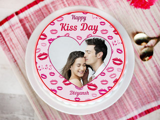 A kiss day special photo cake
