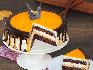 Sliced View of chocolate orange cake