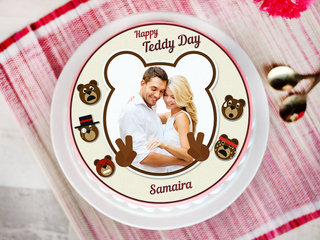 A teddy day special photo cake