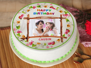 Floral Birthday Photo Cake