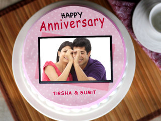 Round Shape Photo Cake For Marriage Anniversary