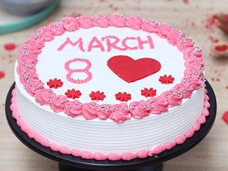 Round Shape Women's Day Cream Cake