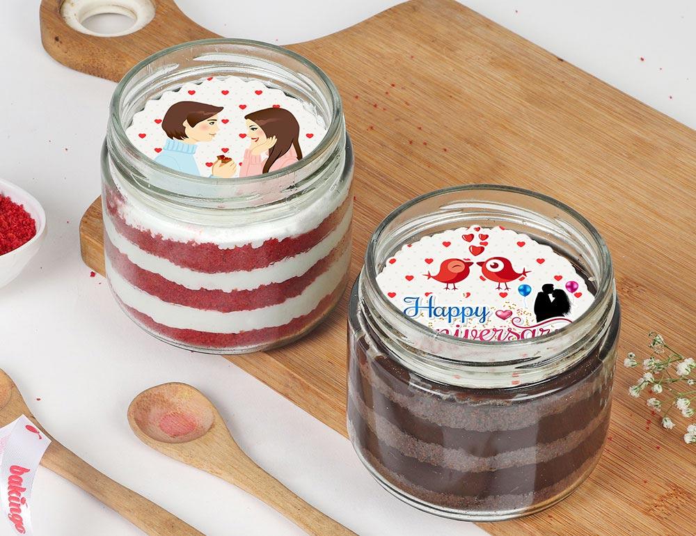 Anniversary Poster Red Velvet N Chocolate Jar Cake