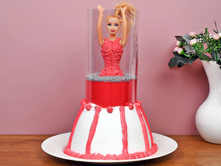 Red Pull Me Up Barbie Cake