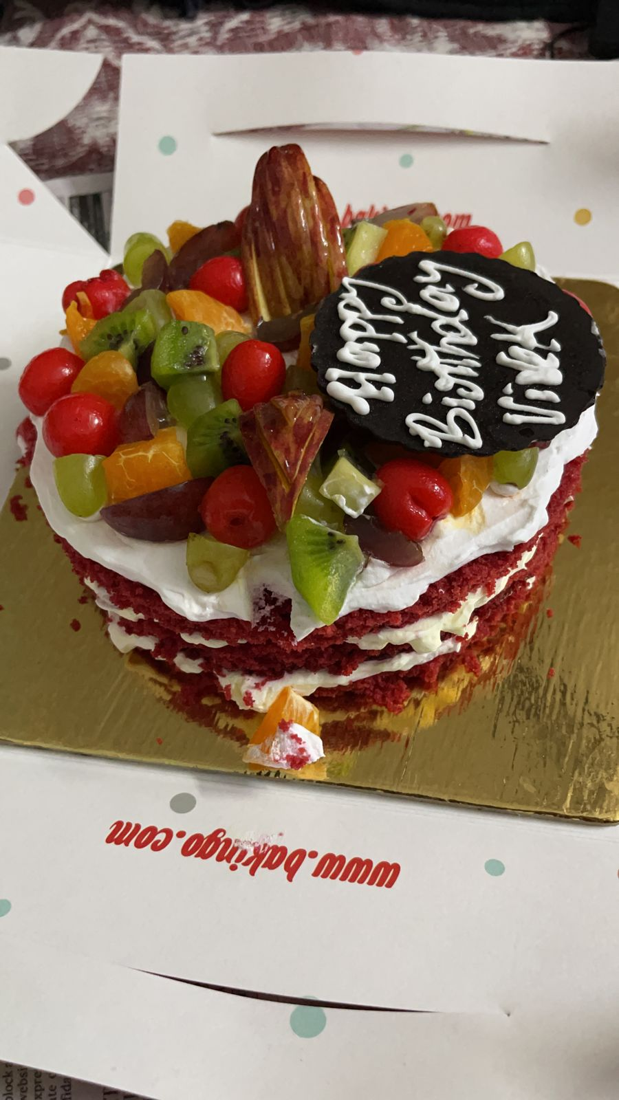 Red Velvet Fruit Layer Cake