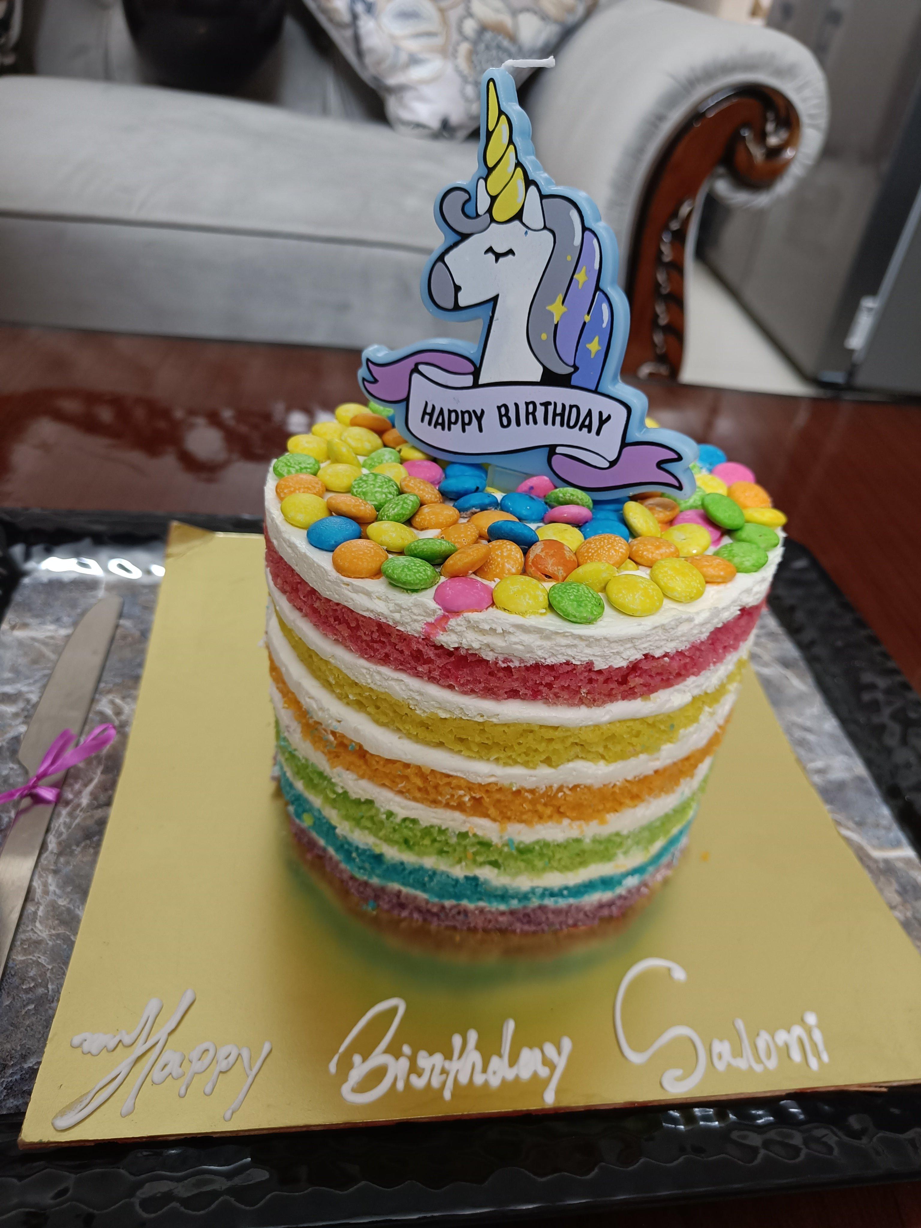 Luscious Layered Rainbow Cake