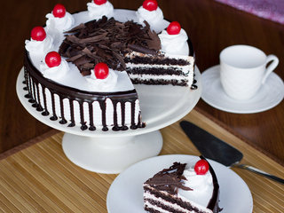Sliced View of Black Forest Cake
