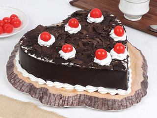 Side View of Black Forest Heart Cake