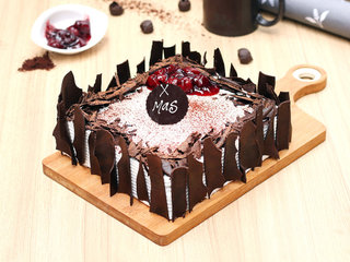 Black forest vegan cake for Christmas With Greeting Card