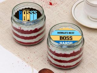 Boss Day Custom Red Velvet Poster Jar cake