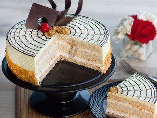Sliced View of Butterscotch Delight-Round Shape Butterscotch Cake