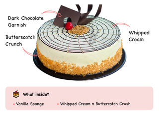 Butterscotch Cake-Round Shape Butterscotch Cake with ingredients