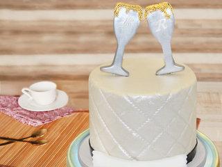Champagne Glass Fondant Cake
