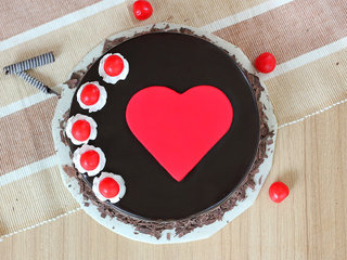 Top View of Black forest red heart cake