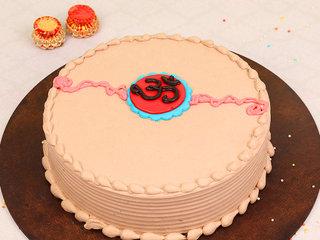 Chocolate Cake with OM Rakhi on it