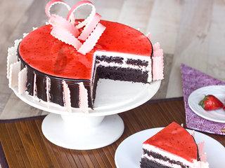 Sliced View of Choco Strawberry Cake