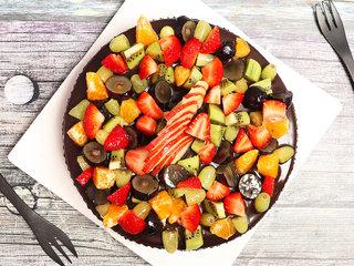 Top View of Chocolate Truffle Fruit Cake