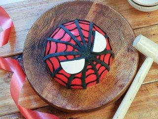 Top View of Spiderman Pinata Cake