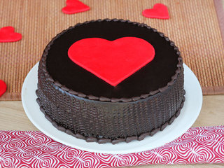 Choco truffle cake with a big heart