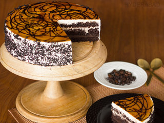 Sliced View of Coffee Mocha Cake