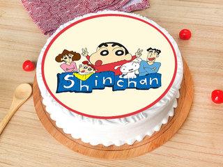 Cute Sinchan Themed Pineapple Poster Cake
