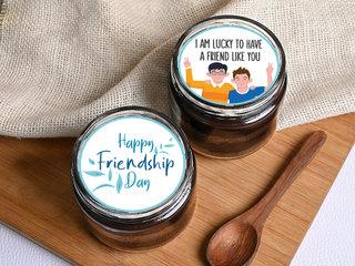 Friendship Day Poster chocolate jar Cake