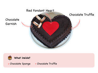 Double Heart Choco Truffle Cake with ingredients