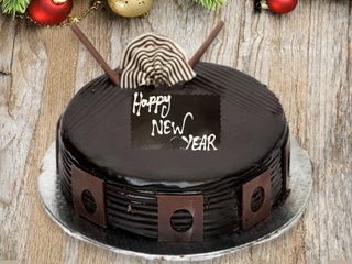 Happy New Year theme chocolate cake