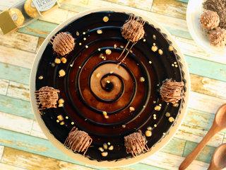Top View of Ferrero Rocher Choco Cake in Noida