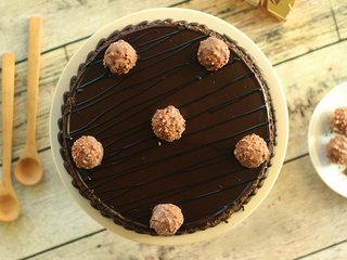 Top View of Ferrero Rocher Chocolate Cake