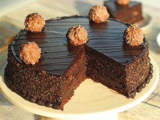 Zoomed View of Ferrero Rocher Chocolate Cake