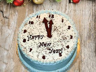 happy new year theme clock cake