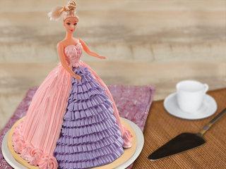 Multi flavored pink barbie fondant cake