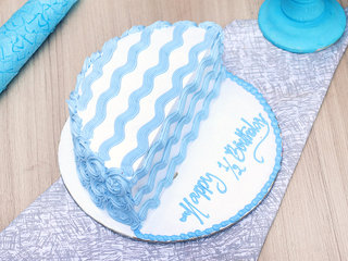 Full View of Half Month Vanilla Celebration Cake