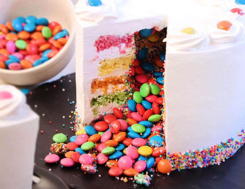 Rainbow Gems Pinata Cake