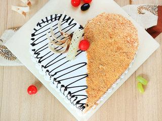 Top View of Heart Shaped Butterscotch Vanilla Cake
