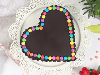 Top View of Heart Shaped Choco Gems Cake