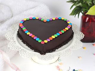 Full View of Heart Shaped Choco Gems Cake