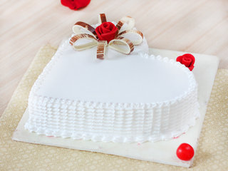 Side View of Floral Fun - A Heart Shaped Vanilla Cake