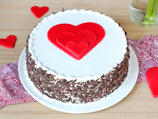 Black forest cake with 3 hearts