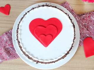 Top View of Black forest cake with 3 hearts
