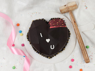 Top View of Hearty Love Pinata Cake